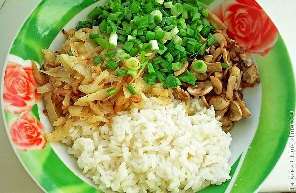 Пирог с рисом и грибами
