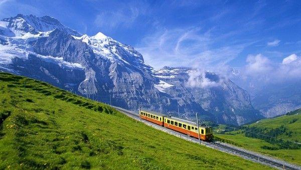 17. Горная железная дорога Монтенвер в Альпах. Была построена в 1909 году, но функционирует до наших дней. Путь поезда пролегает по лесистым горным склонам, и из окон поезда открываются шикарные виды. Необычность этой железной дороги в том, что у нее не 2 рельса, как мы привыкли, а 3. Третий рельс зубчатый. Именно с его помощью головной вагон посредством зубчатого колеса приводит в движение состав. Колесо крутится, поезд едет.