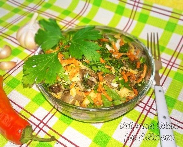 Салат с корейской морковью и грибами