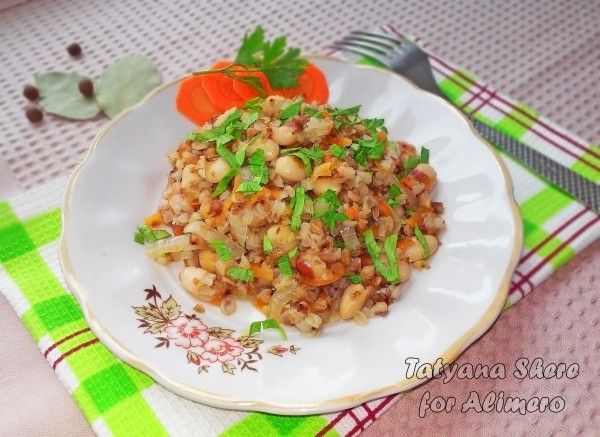 Вкусная гречка с фасолью