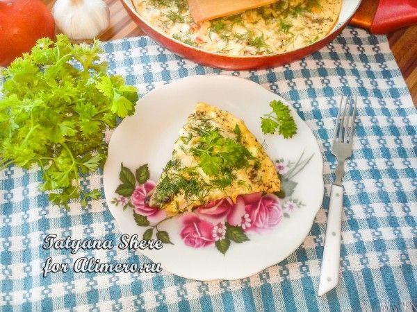 Омлет с помидорами и капустой