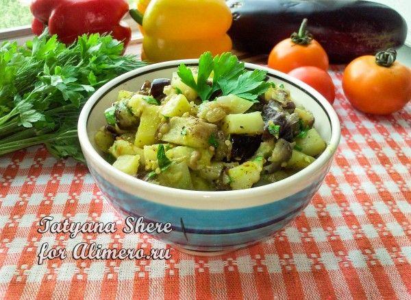 картошка в баклажанами в духовке рецепт
