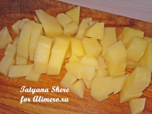 Жареный картофель с баклажанами