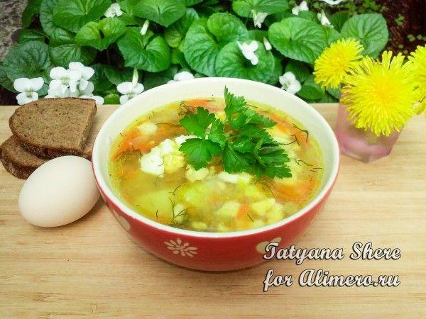 Суп с рисом, яйцом и сельдереем