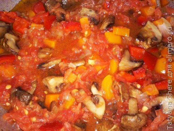 Рис с грибами в духовке