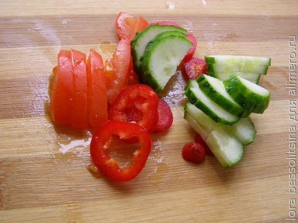 диетический омлет, овощи на салат