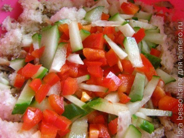 батон фаршированный, овощной