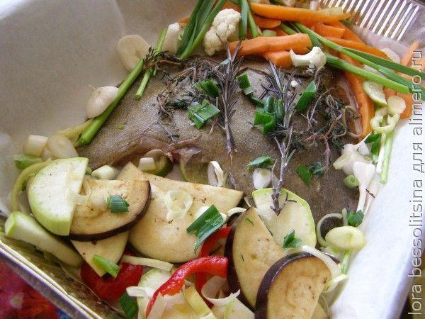 камбала с овощами, овощи на рыбе