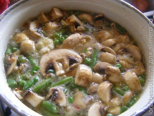 суп диетический, заложим овощи и грибы