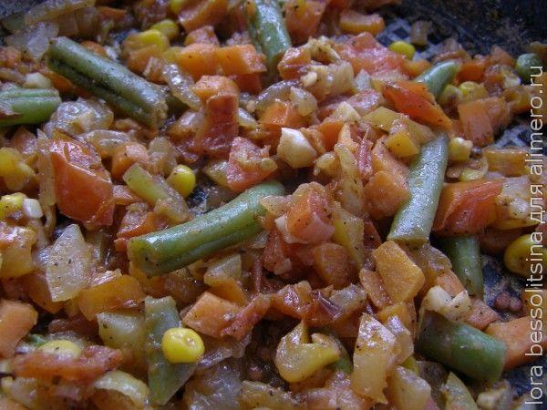 кальмары, жарим овощи