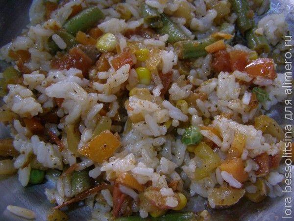 кальмары, рис с овощами