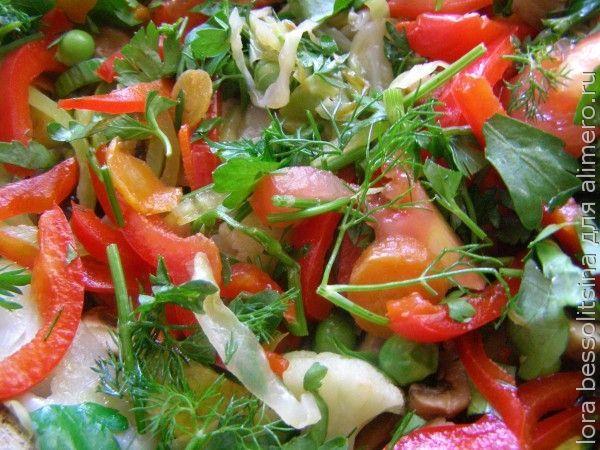 теплый салат, готовится