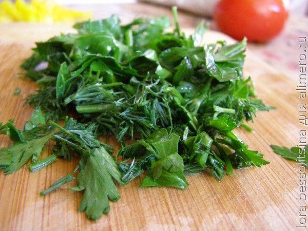 салат с толстолобиком, зелень