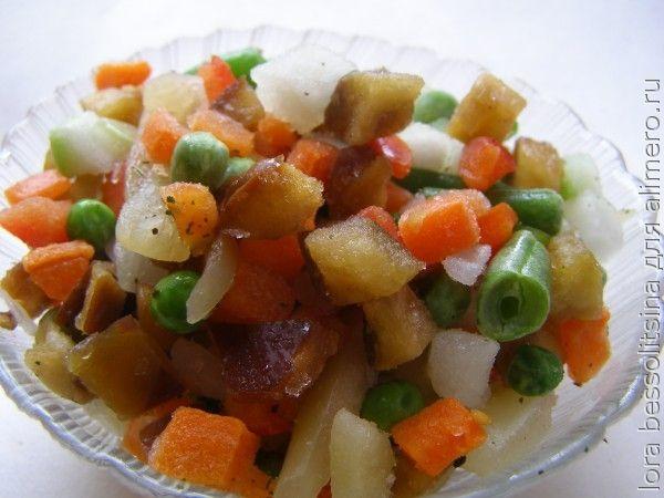рыба с овощами, овощи мороженные