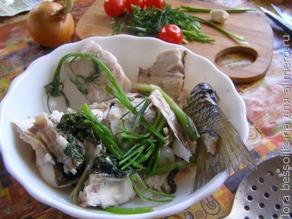рыбный суп из пиленгаса, рыба остывает