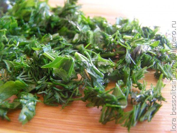 овощной суп, зелень
