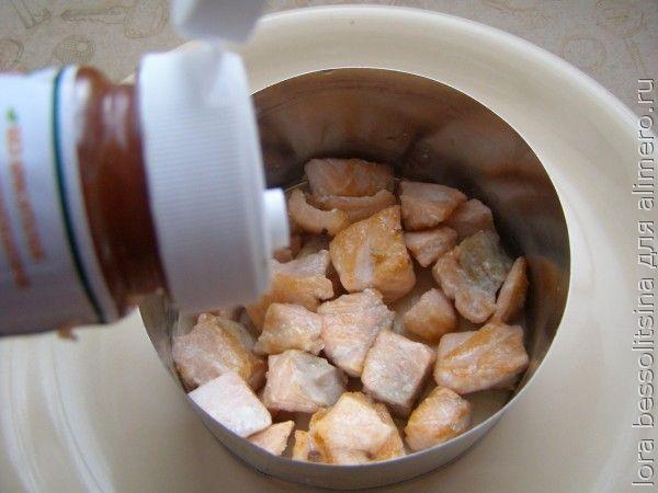 салат с кетой, первый слой
