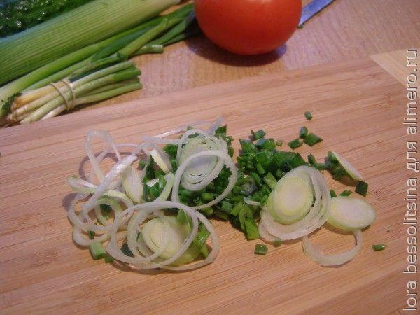 салат очищающий, порей и зеленый лук