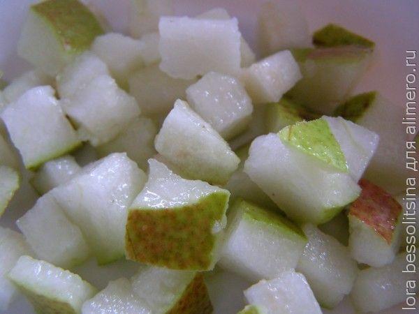 фруктовый десерт в лаваше, груша