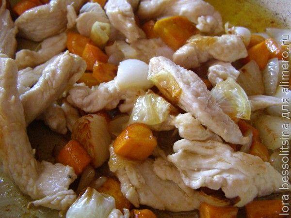 овощное рагу с белым мясом, жарим