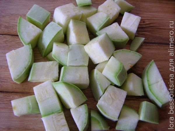 овощное рагу с белым мясом, кабачок