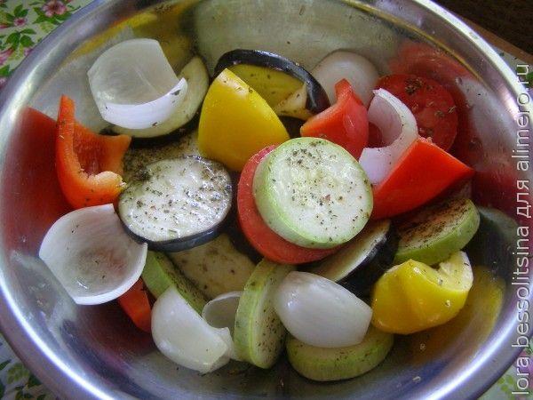 овощной шашлык, под специями