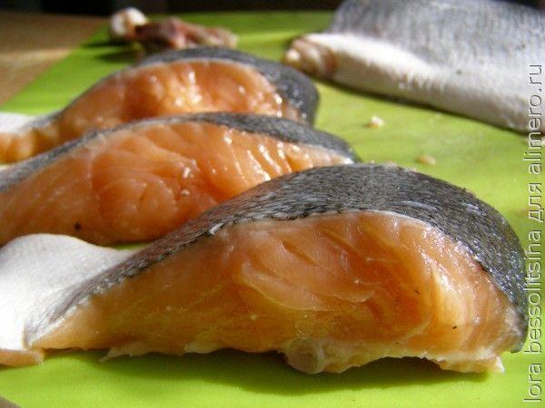 лосось с огурцом, стейки