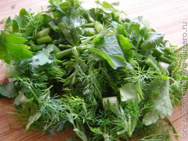 рулет овощной, зелень