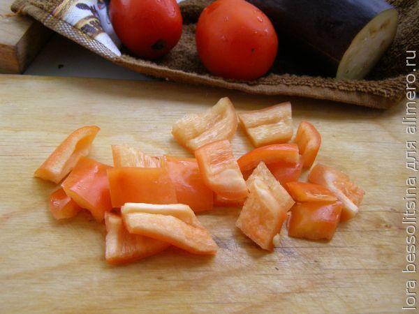 картошка с овощами, перец болгарский