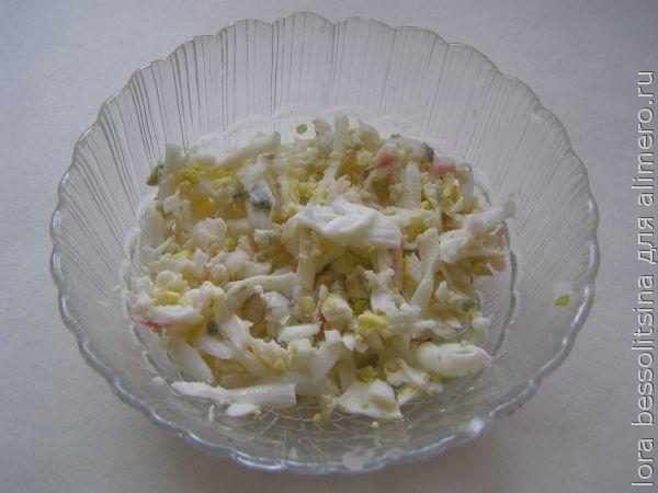 салат со шпротами, яйцо