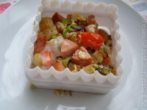 яичница овощная, в форме