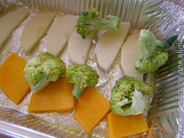 рыба с овощами, слои
