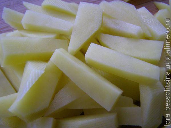 суп с перловкой, картошка