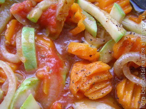 камбала с овощами, овощи тушеные