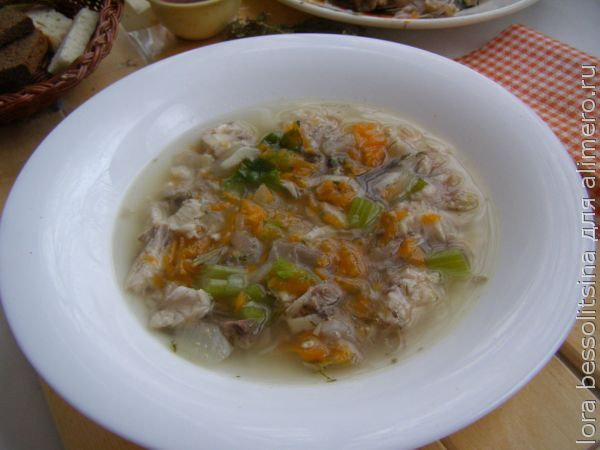 диетические блюда - суп из карпа