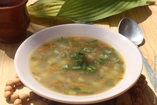 Суп из зеленой чечевицы и шпината