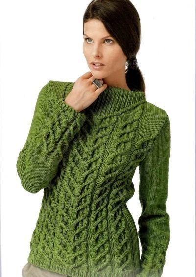 Аранское плетение - еще одна модная тенденция сезона осень-зима. Насыщенный зеленый цвет добавит образу загадочности, а натуральная шерсть согреет в самые холодные зимние дни.