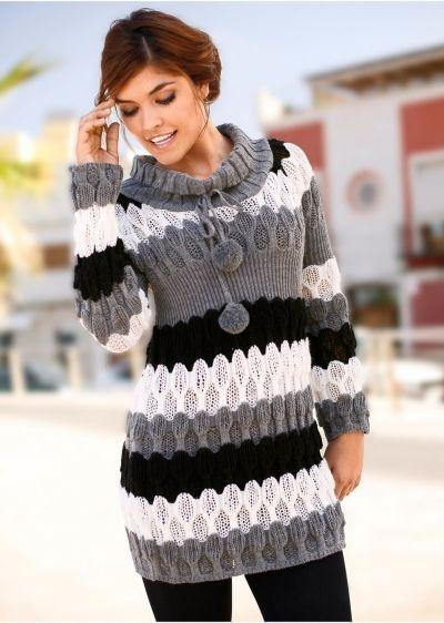Шерстяной свитер крупной вязки выполнен в сдержанных тонах, но благодаря изящному плетению и контрастным полоскам, сделает ваш образ ярким и неординарным.