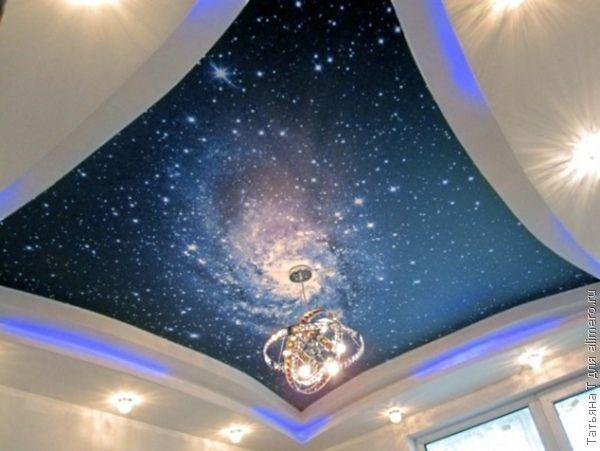 Миллиарды звезд, целые созвездия, туманность андромеды или таинственный млечный путь…. Такой потолок хорош для спальни романтика и мечтателя.