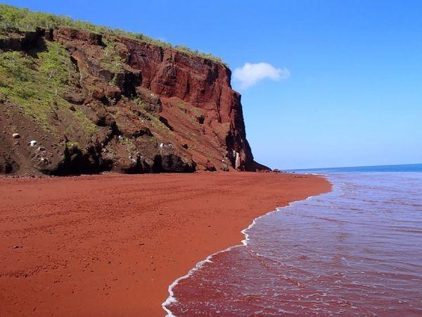 Пляж с красным песком Рабида, Галапагос. Есть мнение, что красный песок сформировался в результате окисления лавы, богатой железом.  А может быть, это результат вымывания коралловых останков.