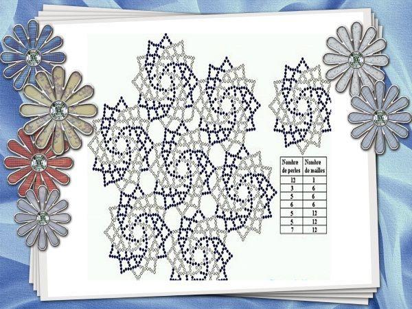 Салфетка изготовлена из отдельных сегментов, сплетенных между собой крайними рядами. В первом ряду (центральное колечко) 12 бисеринок. Цвета чередуются через 2 бисеринки.