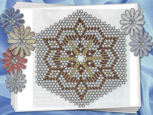 Плетение нужно начинать с середины, и дальше, по кругу постепенно добавлять число бисеринок.  Узор можно менять, добавляя свои элементы контрастным цветом бисера.