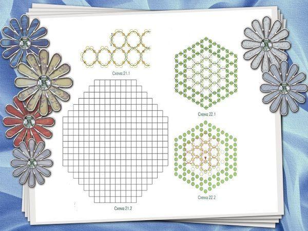 Форму салфетки можно изменить, делая соты из 12 бисеринок и соединяя их не по кругу, а рядами. Сначала, в каждом последующем ряду нужно добавлять по 2 ячейки, а в нижней части – убавлять.