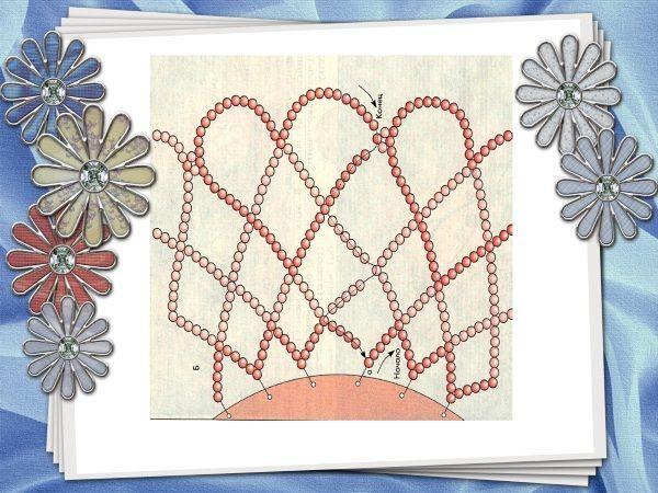 Смыкая в кольцо конец плетения, нужно добавлять по 2 дополнительные  бисеринки, как это видно на схеме. Тогда получится изящное соединение сердечек крайнего ряда.