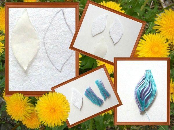 На отрезке белого фетра следует вырезать один или пару листиков (в зависимости от того, какое украшение задумано изготовить). На фетр пришейте отрезок ленты, закрепляя по всему периметру.
