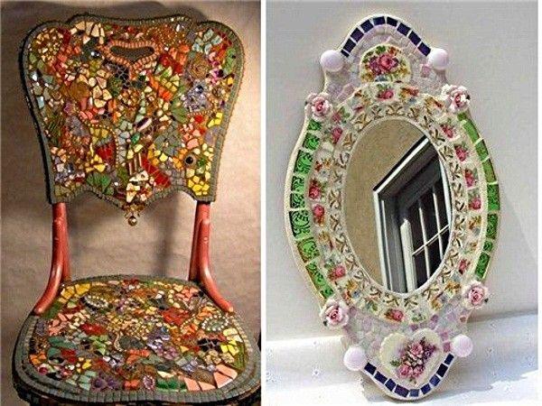 Таким же образом можно изменить до неузнаваемости старый дедов стул или бабушкино зеркало. Предварительно все поверхности нужно очистить и обезжирить, а уж потом клеить мозаику.