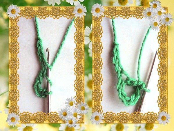 На крючок накиньте рабочую нить и проведите его в 4 петлю цепочки, провяжите столбик с накидом.