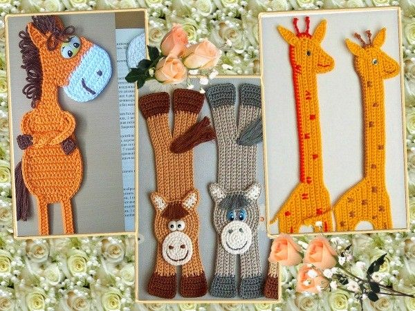 Резвые лошадки и жирафики выполнены в одной манере - столбиками без накида. Вот только лошадкам их автор сделала еще и шикарные хвосты и гривы из остатков шерстяных ниток.