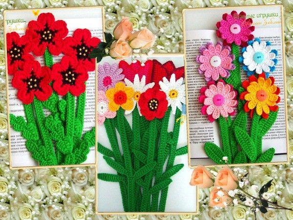 Такие яркие цветы вяжутся из отдельных фрагментов: цветы, стебли, листья. А потом все элементы сшиваются между собой.