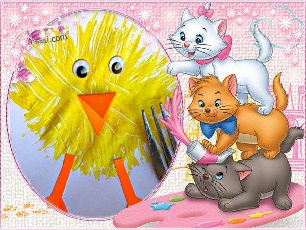 2. Такого цыпленка рисовать очень просто. Вам понадобится ярко-желтая гуашь, вилка, остатки цветной бумаги оранжевого оттенка и пластиковые глазки. Их можно купить в любом магазине для творчества.